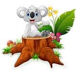 Cartoon bunny on tree trunk Royalty Free Stock Image