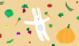 Cartoon Bunny with Vegetables. White Rabbit illustration surrounded by garden patch vegetables floating in the background Stock Images