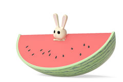 A cartoon bunny with watermelon,3D illustration. A cartoon bunny with watermelon 3D illustration Royalty Free Stock Photography