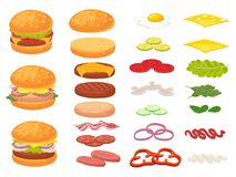 Free Cartoon Burger Ingredients. Hamburger, Chop Bun And Tomato. Ham, Fresh Pickles And Cheese Slices. Fast Food Constructor Stock Image - 175596671