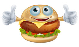 Cartoon burger man. Fast food mascot character doing a thumbs up Stock Photography