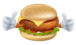 Cartoon burger mascot. An illustration of a cartoon burger mascot with gloves doing thumbs up Stock Image