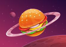 Cartoon burger planet icon on space background. Food space concept. Hamburger vector illustration Stock Image