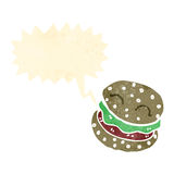 Cartoon burger with speech bubble Royalty Free Stock Images