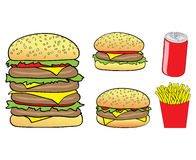 Cartoon burgers, chips, can Stock Photography