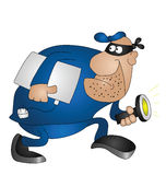 Cartoon burglar. Isolated on white background Royalty Free Stock Image