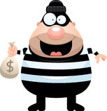 Cartoon Burglar Money Bag Stock Images