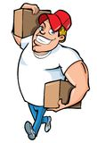 Cartoon of burly delivery man Royalty Free Stock Image