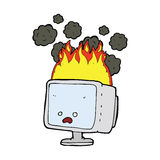 cartoon burning computer Stock Image