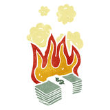 cartoon burning dollars Stock Photos