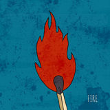 Cartoon burning match. Stock Photography