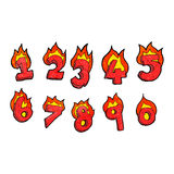 Cartoon burning numbers Royalty Free Stock Photos