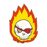 Cartoon burning skull. Hand drawn cartoon illustration in retro style.  Vector available Royalty Free Stock Photos