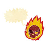 Cartoon burning skull with speech bubble Stock Image