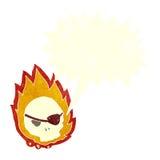 Cartoon burning skull with speech bubble Royalty Free Stock Photos