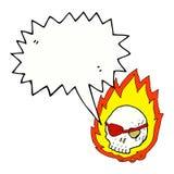 Cartoon burning skull with speech bubble Stock Images