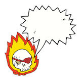 Cartoon burning skull with speech bubble Stock Photos