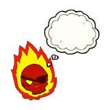 Cartoon burning skull with thought bubble Stock Photo