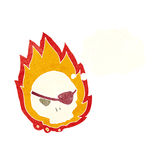 Cartoon burning skull with thought bubble Stock Images