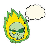 Cartoon burning skull with thought bubble Royalty Free Stock Photos