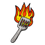 Cartoon burning spatula Stock Photography