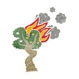 Cartoon burning tree Stock Photography