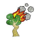 Cartoon burning tree Stock Photo