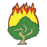 Cartoon burning tree Royalty Free Stock Photography