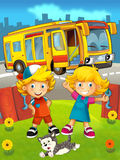 Cartoon bus in the city with kids - happy summer scene Royalty Free Stock Image