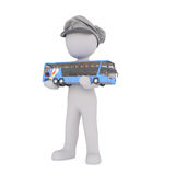 Cartoon Bus Driver Cap Holding Small Scale Bus Royalty Free Stock Photo