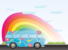 Cartoon bus with rainbow Royalty Free Stock Photos