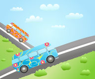 Cartoon bus routes Royalty Free Stock Images