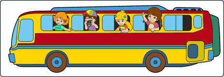 Cartoon bus on school trip. Happy and colorful illustration for the children Royalty Free Stock Images