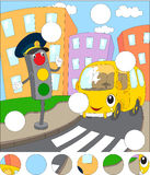 Cartoon bus and traffic lights. Complete the puzzle and find the Stock Photography