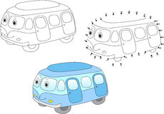 Cartoon bus. Vector illustration. Coloring and dot to dot game f Royalty Free Stock Photos