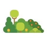 Cartoon bush element vector. Flat style vector illustration. Cartoon bush element vector. Green herbal plant isolated on white. Flat style vector illustration Stock Photos