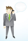 Cartoon busines man with phone Royalty Free Stock Photos