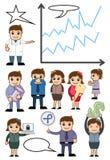 Cartoon Business Advertisement Conceptual Vector Graphics. Illustration Stock Photography