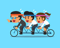 Cartoon business boss and business team ride tandem bicycle Royalty Free Stock Photos