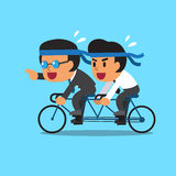 Cartoon business boss and businessman ride tandem bicycle Stock Images