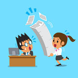 Cartoon business boss and businesswoman have a lot of work. For design Royalty Free Stock Images