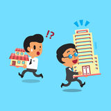 Cartoon business boss carrying big buildings Stock Photo