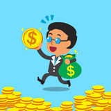 Cartoon business boss carrying money bag and coin Royalty Free Stock Photo