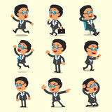 Cartoon business boss character poses on yellow background Royalty Free Stock Photo