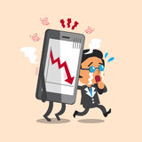 Cartoon business boss cry with stock market arrow show on smartphone. For design Royalty Free Stock Photo