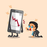 Cartoon business boss cry with stock market arrow show on smartphone. For design Royalty Free Stock Photography