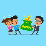 Cartoon business boss and employee do tug of war with money bag. For design Stock Photo