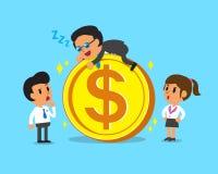 Cartoon business boss falling asleep on a big coin Stock Photography