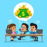 Cartoon business boss falling asleep and dream about money Stock Image