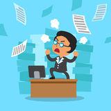 Cartoon business boss with a lot of work. For design Stock Image